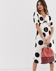 Lost Ink A Line Midi Dress With Tie Front In Spot Print White