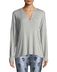 Terez Ribbed Open Back Activewear Sweater Gray
