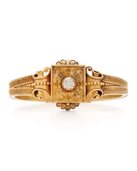 Fred Leighton Estate Antique Gold And Old Mine Diamond Etruscan Revival Bangle