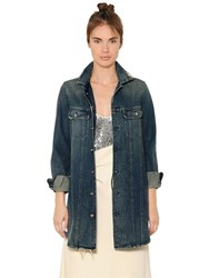 Mm6 Di Maison Margiela Long Cotton Denim Jacket