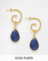 Ottoman Hands Lapis Swirl Earrings Gold