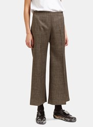 Acne Studios Isa Checked Wide Cropped Culottes Brown