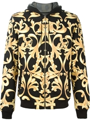 Versace Baroque Print Hoodie Yellow And Orange