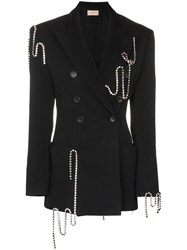 Christopher Kane Crystal Chain Tailored Jacket Black