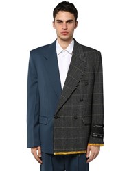 Off White Reconstructed Wool Blazer Multicolor