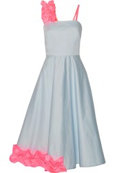 Paskal Ruffled Satin Trimmed Stretch Cotton Poplin Midi Dress Sky Blue