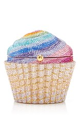 Judith Leiber Couture Cupcake Clutch White Gold Purple