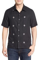 Men's Nat Nast 'Flores' Regular Fit Short Sleeve Silk Sport Shirt Black