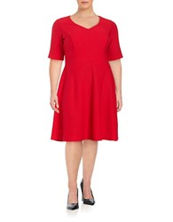 London Times Plus Textured Fit And Flare Dress