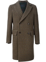 Massimo Piombo Tweed Coat Brown