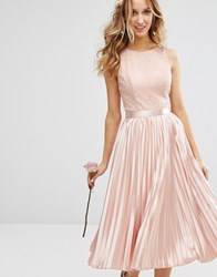 Chi Chi London Lace Bodice Midi Dress With Pleated Satin Skirt Dusky Rose Pink