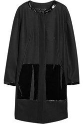 Dkny Patent Leather Paneled Wool Blend Coat Black