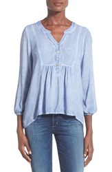 Women's Socialite Washed Peasant Blouse Washed Blue
