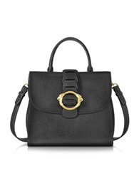 Roberto Cavalli Black Leather Tote Bag