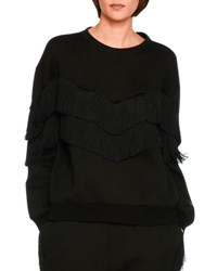 Stella Mccartney Tiered V Fringe Sweatshirt Black