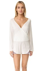 Only Hearts Club Venice Long Sleeve Romper Antique White Mystic