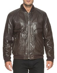 Andrew Marc New York Hughes Fur Lined Leather Jacket Espresso