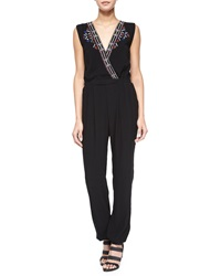 Cynthia Vincent Embroidered Surplice Front Jumpsuit Black