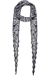 Chan Luu Beaded Printed Georgette Scarf Blue Usd