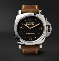 Officine Panerai Luminor Marina 1950 3 Days 47Mm Stainless Steel And Leather Watch Brown