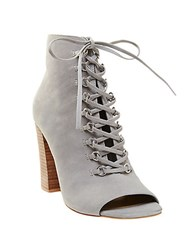 Steve Madden Freemee Leather Lace Up Booties Grey