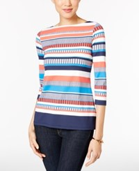 Charter Club Boat Neck Striped Top Only At Macy's Coral Bloom Combo