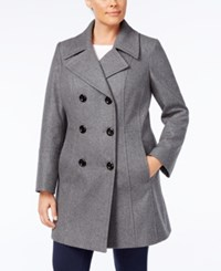 Anne Klein Plus Size Double Breasted Peacoat Medium Grey