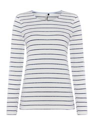 Maison De Nimes Long Sleeve Jersey Stripe Top Off White