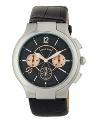 Philip Stein Teslar Large Round Chronograph Watch W Calfskin Strap Black