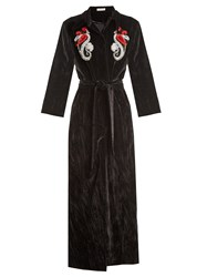 Attico Mia Embellished Cotton Velvet Robe Coat Black Print
