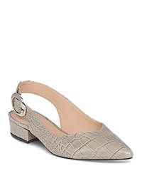 Whistles Women's Cora Embossed Leather Slingback Pumps Gray