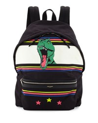 Saint Laurent Men's Dinosaur Canvas Backpack White