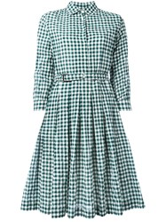 Aspesi Checked Shirt Dress Green