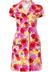 Chanel Vintage Camelia Print Shirt Dress Multicolour