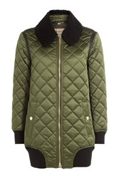 Burberry London Quilted Satin Jacket With Shearling Green