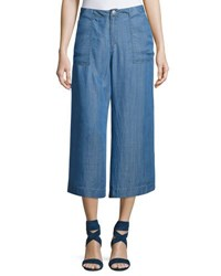 Philosophy Wide Leg Cropped Chambray Pants Blue