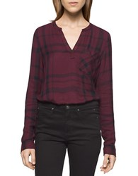Calvin Klein Jeans Long Sleeve Plaid Top Tawny Port
