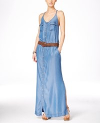 Inc International Concepts Belted Chambray Maxi Dress Only At Macy's Indigo