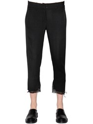 Ann Demeulemeester Cropped Straight Wool Crepe Pants