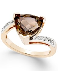 Macy's Smokey Quartz 3 1 2 Ct. T.W. And Diamond Accent Ring In 14K Gold Rose Gold