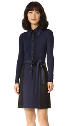 Marc Jacobs Long Sleeve Button Up Dress Navy