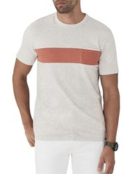 Faherty Surf Striped Pocket T Shirt Gray Orange