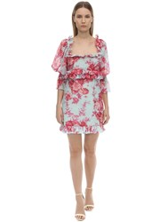Alice Mccall Printed Silk And Cotton Voile Mini Dress Light Blue