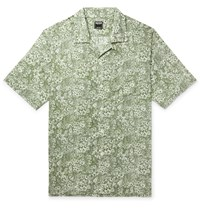 Todd Snyder Liberty London Camp Collar Printed Cotton Poplin Shirt Green