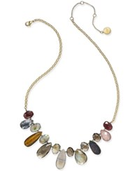 Paul And Pitu Naturally 14K Gold Plated Genuine Stone Bib Necklace Multi