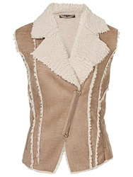 Betty Barclay Sheepskin Gilet Dark Sand