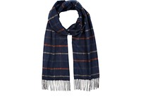 Colombo Men's Checked Cashmere Silk Scarf Navy