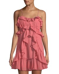 Red Carter Ruffle Trimmed Strappy Mini Dress Pink
