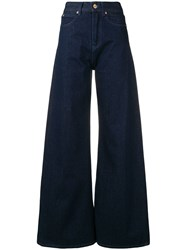 Aspesi High Waisted Flared Jeans Blue
