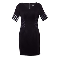 Ardent And Co Fitted V Neck Striped Dress Black